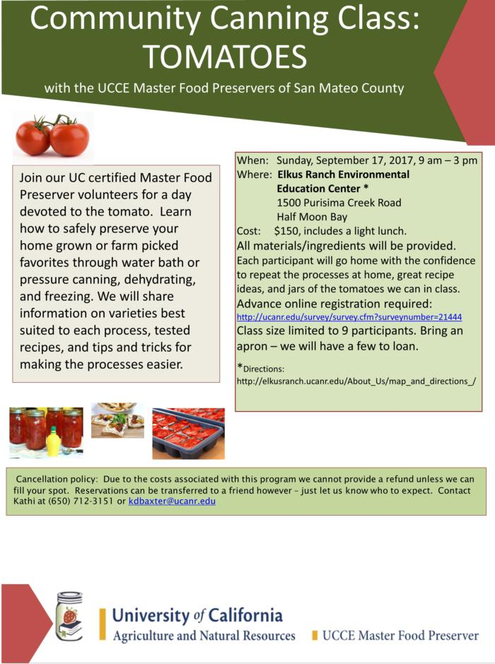 Community Canning Class - Tomatoes 2017