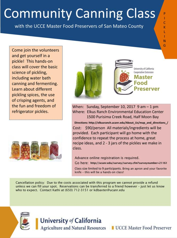 community canning class flyer - pickling 2017