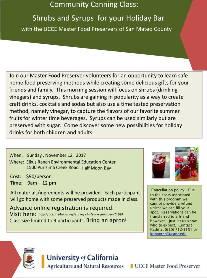 Community Canning Class - Shrubs and syrups for your holiday bar